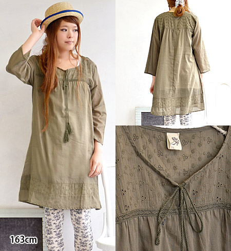 India cotton eyelet embroidery transition season flower motif one piece 100%. With a refreshing India cotton loose A ラインシルエット / 7 / sleeves / 7-sleeves ◆ タッセルロープフラワーパンチング embroidered one-piece
