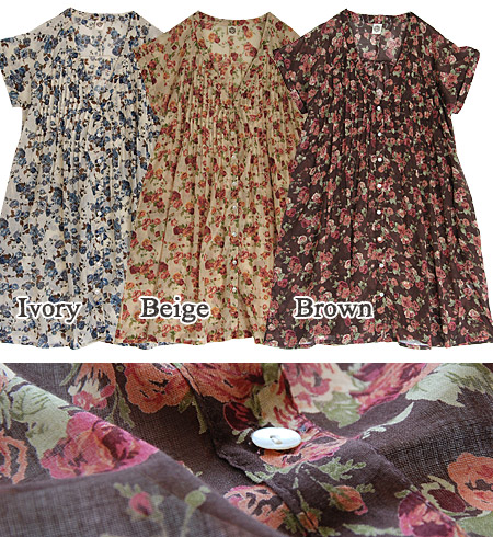 India cotton a natural atmosphere and chic rose pattern, at the same time! India cotton comfort even during the hot season one piece 100%. Pintuck & breath deep V neck short sleeve diffrence t-shirt ladies stylish chest ◆ pleated cotton rose bouquetp