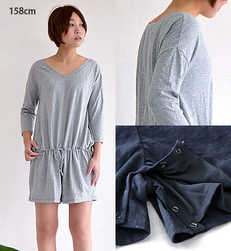 Pants-type all-in-one with outstanding comfort cloth material. Crotch area with snap buttons, removable easy Chin ♪ waist strap built in browsing / combinaison / ladies ◆ ヴァーフィル tenjiku cut seven minutes sleeve rompers