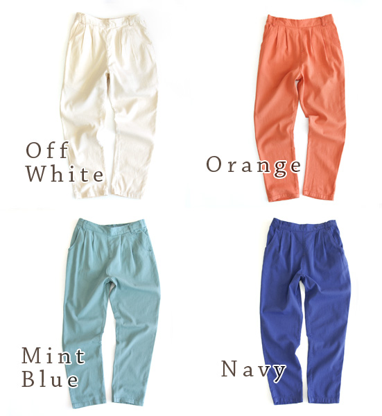 Deep crotch to top & skirt the line gradually narrow women's pants. Active all season somewhat sheer rayon-cotton twill material ◆ ウエストタックライトツイルテーパード pants
