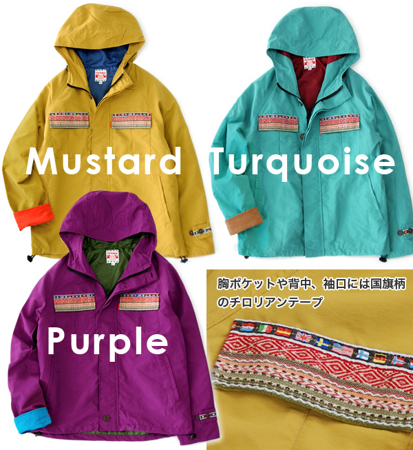 Cheerful color development with zip-up blouson appeared. World flag motif with Tyrolean tape / busboy / men's long-sleeved ◆ TITICACA ( Titicaca ): フラッグチロリアンテープマウンテンパーカー
