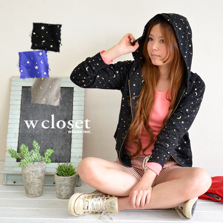 Puffy boobs ライトスエットアウター / slip studded with gold foil prints with three-dimensional stars and moon ◆ w closet ( ダブルクローゼット ): メタリックスターリットライトスウェットジップアップパーカー