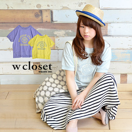 Nothing more than sheer cotton, the one piece that can be worn casual Tee! topped with カレッジロゴ for vintage style sweat short sleeve T shirt / shirt / ladies Tee ◆ w closet ( ダブルクローゼット ): カレッジロゴ print short T shirt