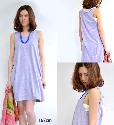 Ultraviolet rays take measures in simple tank top one piece excellent at mix-and-match power willingly! Gentle color A-line no sleeve one piece /UV measures / sunburn measures / shortstop length / mini dress ◆ UV cut NEP T-cloth tank one piece with full