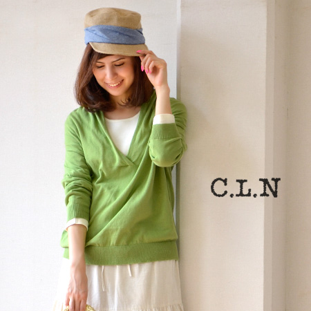 Clean open V-shaped neckline, back rumpled boobs and long sleeve shawl collar style design with neat setter / cotton knit and sheer ◆ C.L.N( シーエルエヌ ): ミモエライト knit shawl V ネックドロップショルダープル over