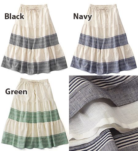 Using fresh, seasonal cotton hemp fabric, the gentle stripes MIDI-length skirt. Soft spread two-step gather design seems to be girls! 100% cotton lined with ◆ キッシュボーダーコットンリネンティアードミディ skirt