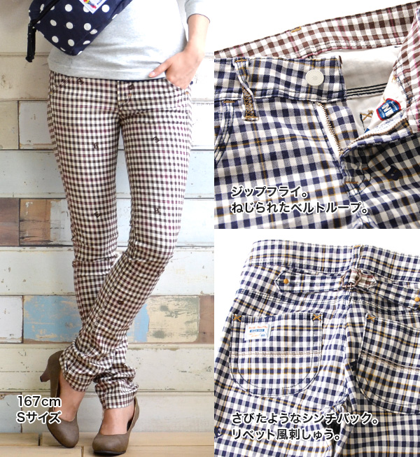 Gingham check pattern fabrics MIX alphabet, saryu leaner shorts / tight /BAW1027I ◆ Betty Smith Betty ( Smith ): ランダムベティギンガムチェックツイルスキニー pants