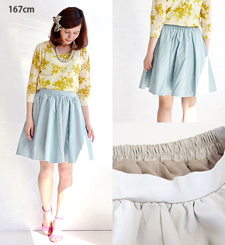 Born in Halifax and slightly shiny fabric volume silhouette! Perfect for decoration of a simple design with color dull! / MIDI-length and knee-length and circular skirt ◆ Mt ( MT ): ツイルサーキュラーミディ skirt