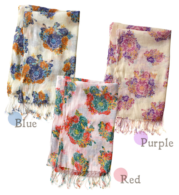 Large floral design of the royal road described in vivid coloration! Light stall linen blend thin ultraviolet rays measures lady's cute fashion fashion mail order Rakuten ◆ Charmant flower linen rayon gauze stall of the hemp rayon material