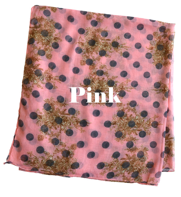 Pop a chic floral polka-dot pattern. Combines the pattern for a thin gauze scarf. Not too classy, kids only a whiff! Smooth soft rayon / みずたま ◆ dot x シャンデリアフラワー light scarf