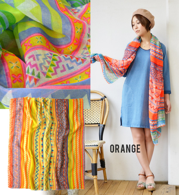 Neon color meets ethnic pattern! The large size stall that a design was described in. The stylish fashion mail order Rakuten ◆ neon ethnic borderlights stall that a shawl messenger shows cute ◎ thin gauze stall awning sunburn