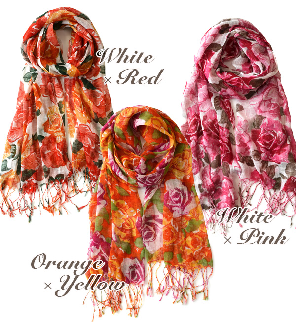 Boldly painted rose pattern light scarf! Good lather and & breathable produce maximum volume roughly viscose rayon material and UV protection/UV protection / flower pattern ◆ BIG rose print light scarf
