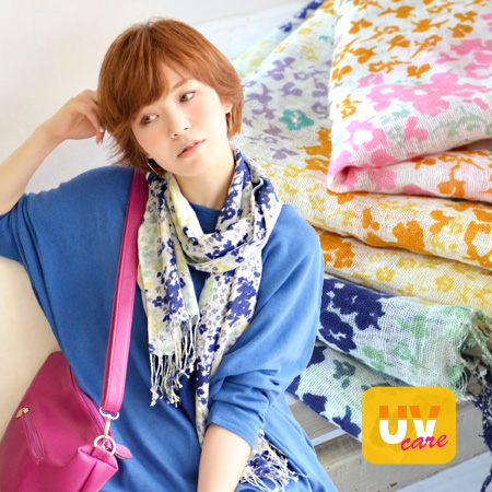 The whole pattern fringe stall hemp blend UV measures sunburn measures lady's pretty fashion mail order Rakuten ◆ plum flower UV care cotton linen stall which made UV care processing on ♪ refreshing cotton linen material wonderful a touch and coloration