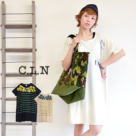 Leaving faint knee-length T dress printed cotton hemp ribbing pattern. Relax in the width, 着こなせます and flower pattern Tee and big Tee and knee-length / ナチュカジ ◆ C.L.N( シーエルエヌ ): プリントコットンリネンドロップショルダー T shirt dress