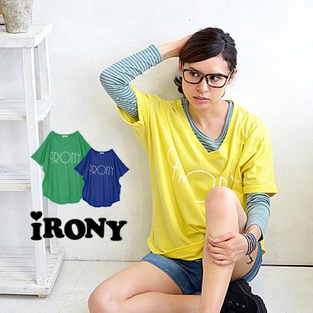 Transform Tee, boyish silhouette big IRONY a simple logo. Produce a sense of Nuke wide open V neck! / short sleeve / women 's/v NECK BIG IRONY top/04-13sh-10 ◆ irony (irony irony) :IRONY logo print V neck big T shirt