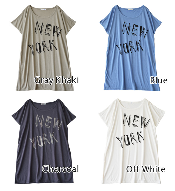 ドルマンワン-piece NEW YORK logo has been printed in the graphic style of hand-drawn touch. Only spread on in a wide width of a rayon blend ♪ can be arranged round-shaped hem with inside cord ♪ ◆ NY ロゴプリントドルマン T shirt dress
