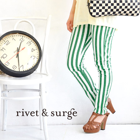 Stripe pattern underwear to wear in slim. At comfortable elasticity such as the leggings underwear along the leg wear; feeling / Lady's / tight underwear / レギパン ◆ rivet and surge (rivet and serge): Stripe stretch skinny pants
