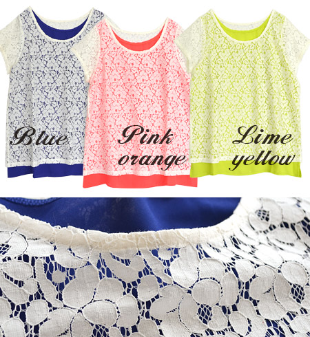 Pullover from total lace blouse sheer flower motifs shine well neon color. Layered design and short sleeves sewn together at the shoulder position ◆ ジョーゼットタンクトップレイヤードフラワーレースプル over