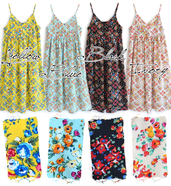 """Good color and floral Parisienne """"sense of dough and turn on. Girl drew gather in the chest under the switch silhouette, stable back shirring rubber wear • ◆ ロイヤルフラワーシャーリングキャミワン piece"""