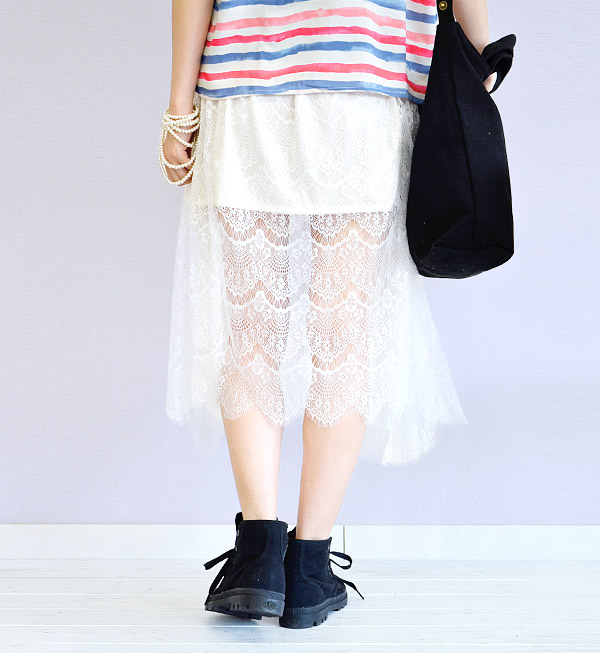 I ventured into the lace skirt lining to mini length! See-through skirt sweet item to wear with cool impression. Dates and long-length and total race / lace skirt ◆ Zootie ( ズーティー ): シースルーレース long skirt