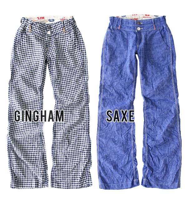 SS/S/M/L gingham check pattern wide pants women's pants and skirts worn long pants Betty Smith ISACA Mania ◆ (Betty Smith) Betty Smith: cottenrinensmilebuggy pants