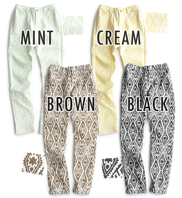 Native pattern and pale color scheme, serving handled casually ♪ comfortable fit skinny pants and レギパン ◆ rivet and surge ( rivet & surge ): ネイティブプリントストレッチスキニー pants