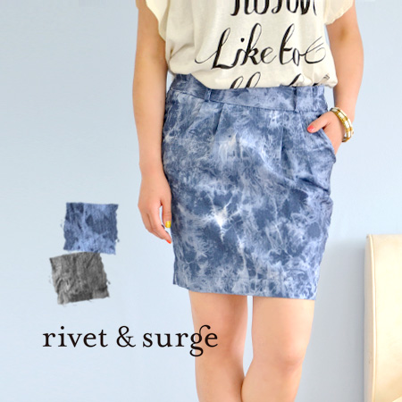 This year seems to be actually printed uneven dye design! Feminine tight silhouette, cool traditional design perfect ladies mini / mini skirt ◆ rivet and surge ( rivet & surge ): スペクルドダイプリント tight skirt