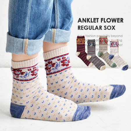 Crew sock / Lady's / footwear / foot wear / woman socks / crew length / shortstop length ◆ retro flower line regular socks thick a little that MIX did an atmosphere of the floral design design とほっこり folklore that was a girly