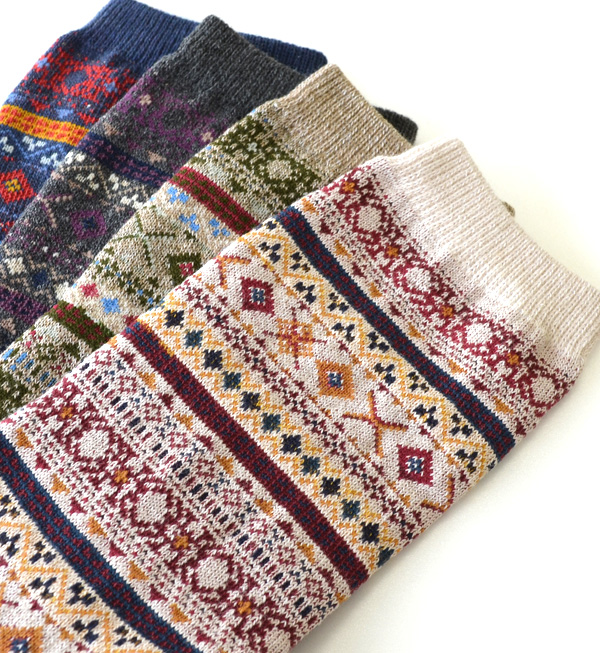 Nordic and ethnic elements that combines the most cum lump sense of heavy crew length socks / ladies / footwear / footwear / women's socks / crew socks and short length ◆ フォークロアボーダー regular socks