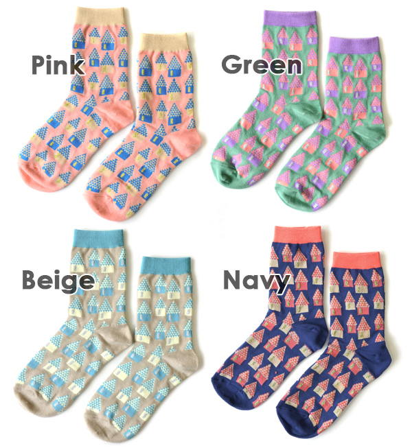 "Cute colors crew socks fancy ""House"" design. Fabric feel pretty lame Windows all crew length socks and short-length / women's / ladies socks / shoes / footwear / House/Home ◆ out regular socks pattern"