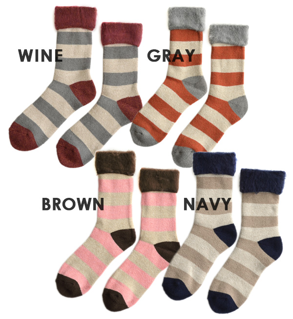 Wrap too cute, inside the cheek I lump back brushed the border pattern socks. Comfort and excellent stretch of stable women's socks/shoes/footwear/women 's/crew-length and short ◆ wide Bader back brushed short socks