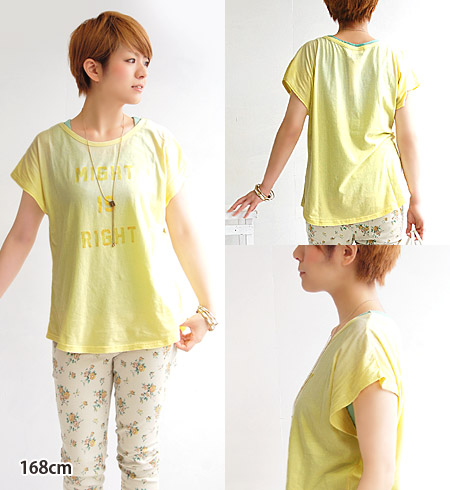 A ユーズド-like print such as the flock print that came off is stylish! Dolman sleeve long length logo Tee/ short sleeves / Lady's /fs3gm ◆ w closet (double closet) of a gentle line without the change of the sleeve: MIGHT IS RIGHT dolman T-shirt