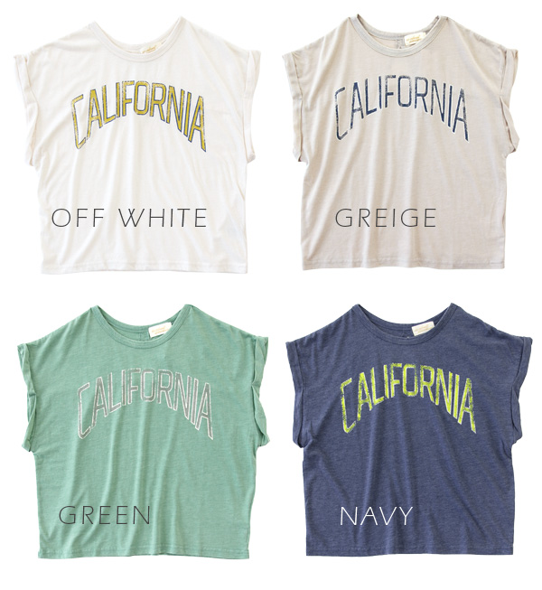 Shortish length Tee which a ユーズド-like logo is easy to use for stylish ◎ layering. Atmosphere ♪ short sleeves fashion ◆ w closet (double closet) where the sleeve which did roll-up to a silhouette relaxedly is rough of the wide width of the body: CALIFORNI
