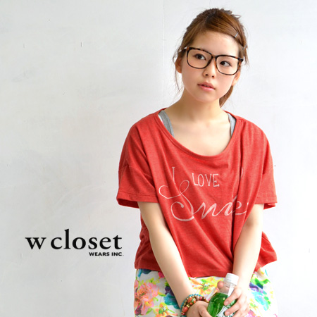 Super short length like this year! Stylish casual Tee of vintage-like cloth & logo. Dropped shoulder sleeve silhouette / short sleeves / cut-and-sew ◆ w closet (double closet) of the wide width of the body: I love smile logo print short T-shirt
