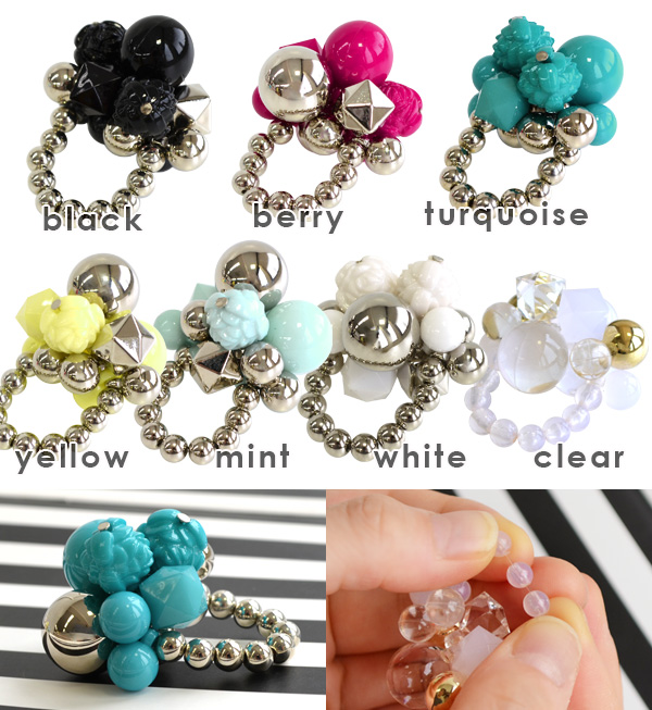 Stretch nylon string offers six free rosary ring. Design color large beads of various shapes with heavy rings and accessories and one size fits all ◆ Zootie ( ズーティー ): volume bead ring
