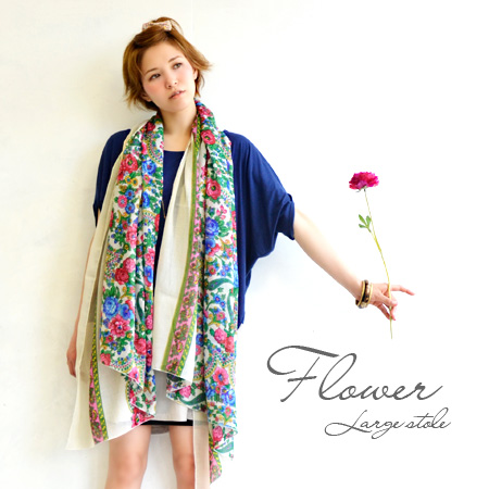 Retro floral print good color to hatsu and the presence of very thin scarf! impressive Asian floral ♪ is caught up on fluffy softness, light feel free and convenient gauze scarf and clothing accessory / ladies ◆ アンシェントフラワーガーゼラージ stall