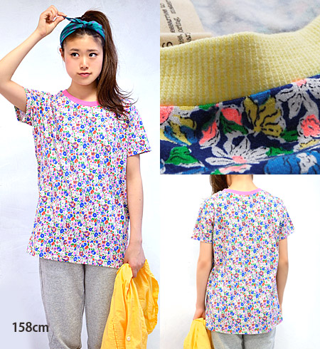 Points with a neon color flower pattern short sleeve sewn. Sweat was piping in the ribbed neckline design! in wide width length extra long over size style silhouette ◆ Zootie ( ズーティー ): ブリックフラワー T シャツチュニック