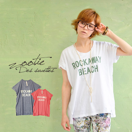 Large size wear loose, simple logo Tee. Casual loose in the cuffs rolled to rough width wide, longer length! And women's short sleeve T shirt / shirt / women ◆ zootie (SETI):ROCKAWAY BEACH logo T shirt