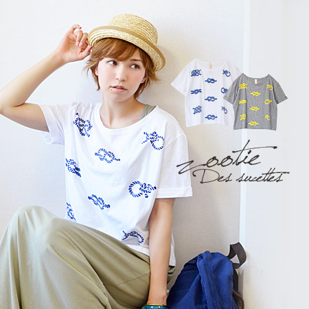 The short sleeves T-shirt which is Malin where a rope pattern was drawn on with the flock print with the ぷっくり three-dimensional impression. ♪ cut-and-sew Lady's Tee inner tops ◆ zootie (zoo tea) excellent at an affinity at unhurried width of the body &am