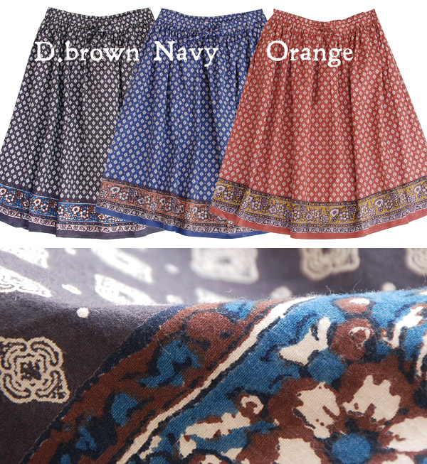 It's autumn and winter India cotton skirt! 100% cotton with slightly brushed surface fabrics girly-knee-length skirt / MIDI-/ middle-/ dates / medium / knee length ◆ ランバスフラワーコットンミディ skirt