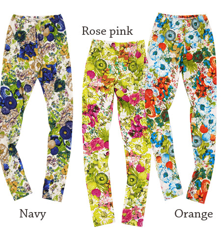 It is large floral design that I want now! Leading role grade leggings ten minutes length spats full-length lady's cute stylish mail order Rakuten ◆ zootie (zoo tea) beating fast with a bold showy pattern: Tropical flower leggings