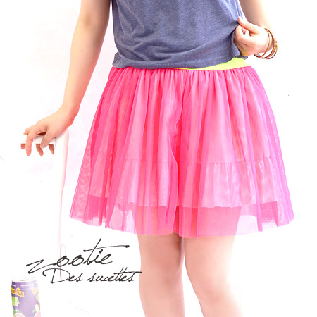 Fluorescence color Tulle race skirt! To the silhouette which is this year style ♪ ボリューミー waist rubber and the color of the Tulle race as for the lining frill / mini-length / tutu skirt ◆ zootie (zoo tea): Neon Tulle miniskirt