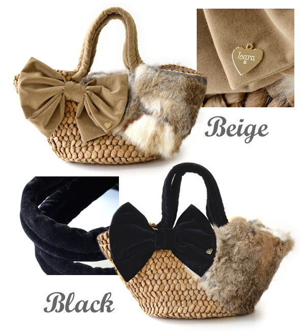 カゴバッグ enjoy the winter ♪ rabbit fur and velvet Ribbon Lady Mays basket bag and cloth & in pocket with / natural material /BAG/basket Tote ◆ Lara &Heart (ララアンド heart): ラビットファーベルベットリボンカゴバッグ