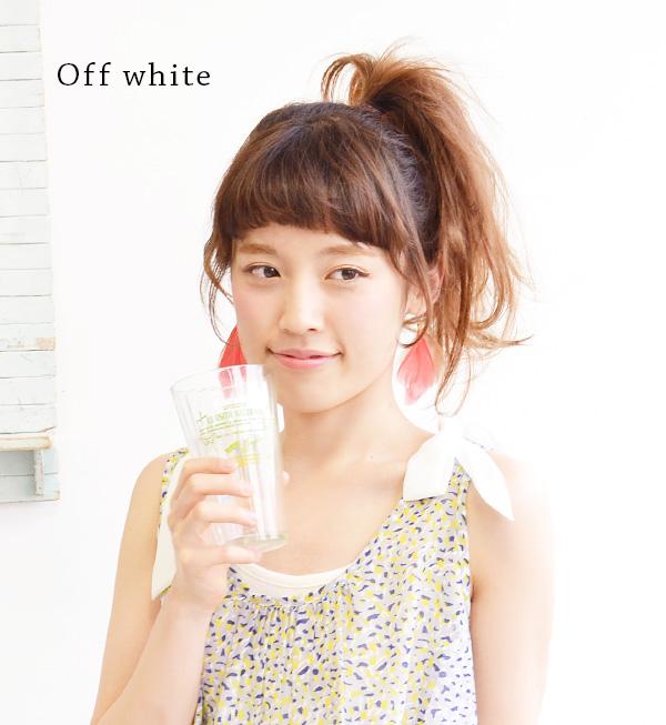 Sweet chiffon Ribbon peek from the shoulders, ribbed material inner tank top. Also wavy hem frill like a cute ♪ / sleeveless / solid color / cut ◆ w closet ( ダブルクローゼット ): シフォンショルダーリボンリブ tank top