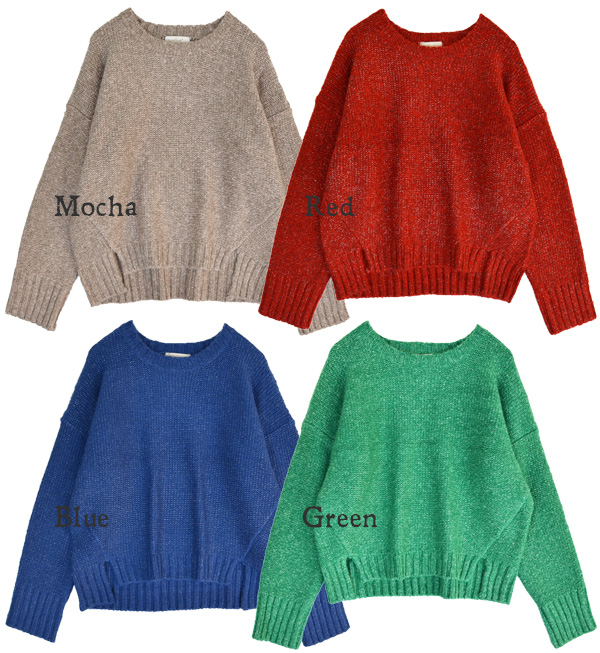 Simple x elbow retro appropriated with sweaters! with thick スラブニット expressive loose & short length short knit wear/ladies ◆ w closet ( ダブルクローゼット ): with elbow patch スラブニットドロップショルダープル over