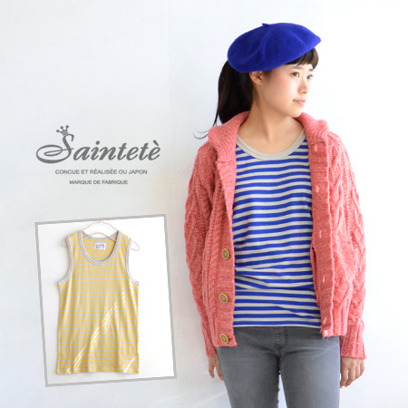 The softness of cotton's border pattern ノースリーブカットソー finished fabric intact, almost no distortion. As the inner, of course, can be used also in the main piping design/ladies ' ◆ Saintete ( サンテテ ): 無斜 line tenjiku tank top