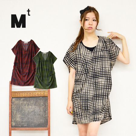 A mode a little Plaid ♪ thickness sparse Plaid short sleeve ドルマンスリーブワン piece unique. Terron and smooth * tack on expressive flair, directing / mini ◆ Mt ( MT ): トーンチェックウエストタックドルマンワン piece