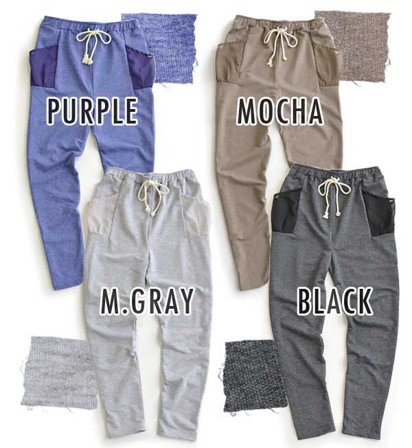 The extremely thin mini-fleece pile sweatpants that the pocket of the chiffon material with the translucency accentuated! Fall into dressy coordinates so good; is moderate; fall out; a silhouette is ◎ / Lady's / long underwear ◆ chiffon pocket light swea