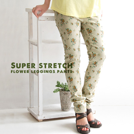 Discreet and gentle floral easy skinny pants. On wear comfort of deep rise stability fully its specifications: stretched tight and easy to move super stretch fabric and leg pain / paginas / slender ◆ gardenbacketwilleggins