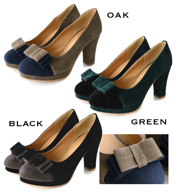 Elegant velour square type Ribbon decorate the instep, chunky heel pumps. 8 cm high heels are also fun, with storm Lantern! / Women's footwear / shoes / faced / toe ◆ バイカラーリボン velour pumps